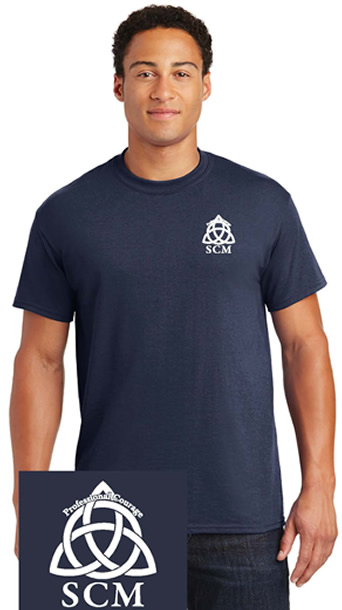 Pro Courage Dark Blue T white logo