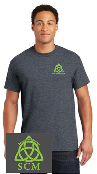 Pro Courage Heather Grey T green logo