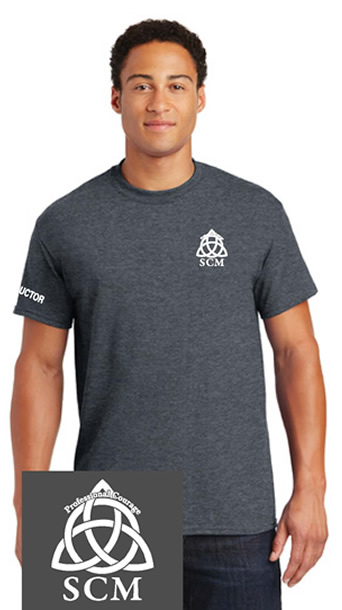 Pro Courage Heather Grey T white logo