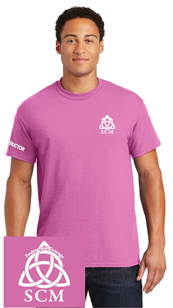 Pro Courage Pink T white logo